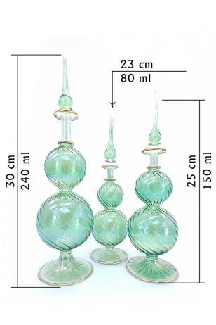 3'lü Üfleme Cam Boş Yeşil Kolonya Şişeleri
