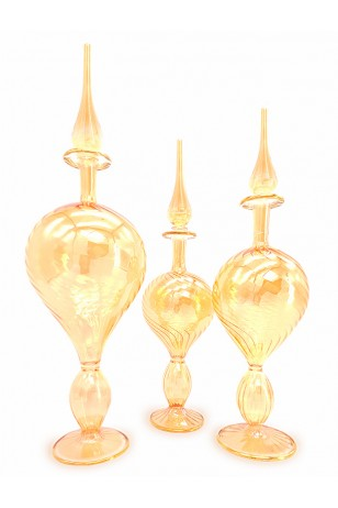 3'lü Üfleme Cam Boş Kolonya Şişeleri Sarı