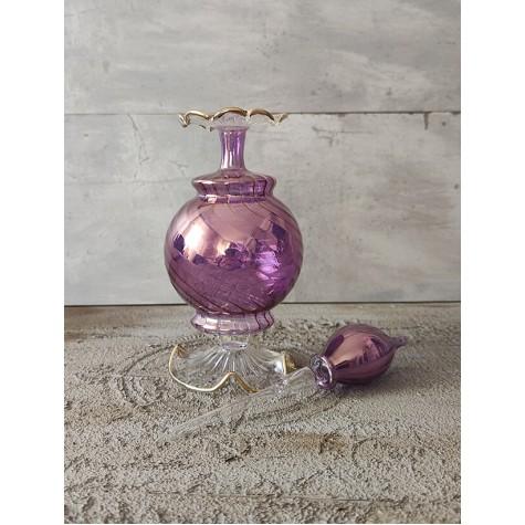 Üfleme Cam Kandil Parfüm Şişesi Mor