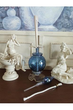 Üfleme Cam Kandil Parfüm Şişesi Mavi