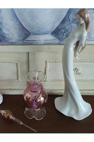 Üfleme Cam Kandil Parfüm Şişesi Pembe