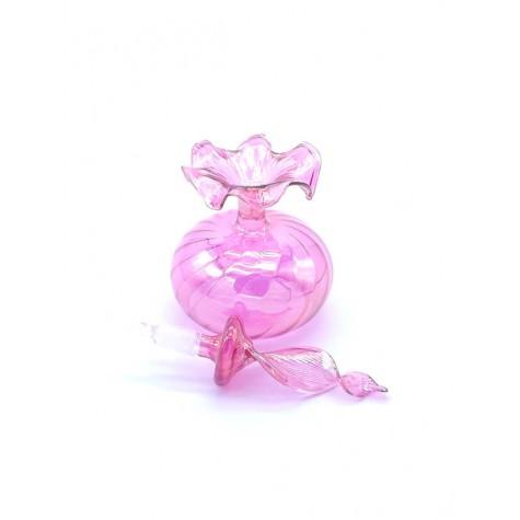 Üfleme Cam Obje Pembe Parfüm Kandil Şişesi