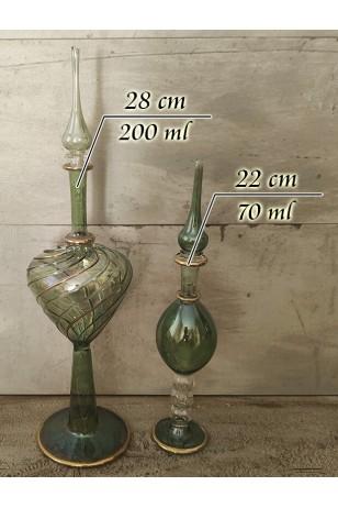 Üfleme Cam 2'li Kandil Kolonya Koku Şişeleri Yeşil