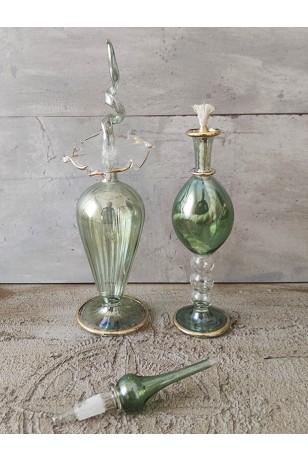 2'li Yeşil Üfleme Cam Kandil Kolonya Koku Şişeleri