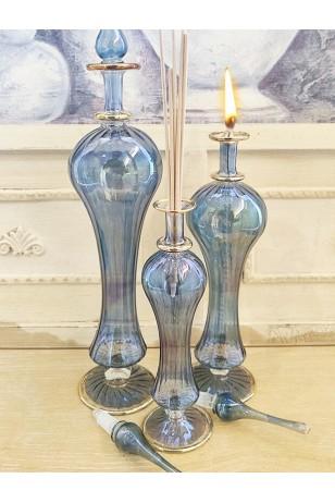 Üfleme Cam 3'lü Takım Mavi Kandil Kolonya Koku Dekoratif Aksesuar