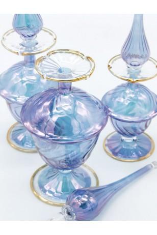 3'lü Üfleme Cam Mavi Kandil Parfüm Koku Şişeleri