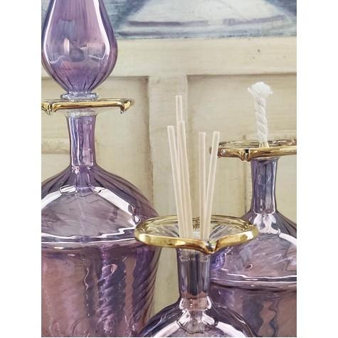 3'lü Üfleme Cam Mor Kandil Parfüm Koku Şişeleri