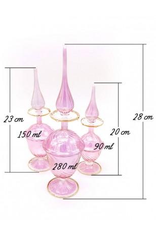 3'lü Üfleme Cam Pembe Kandil Parfüm Koku Şişeleri
