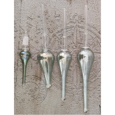 3'lü Üfleme Cam Yeşil Kandil Parfüm Koku Şişeleri