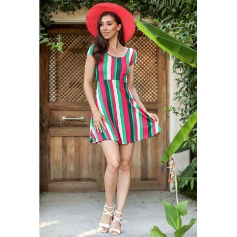 Renkli Desen Elbise