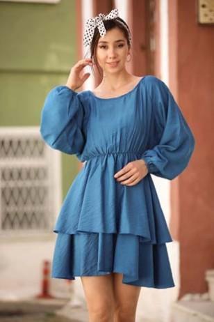 Mavi İspanyol Elbise