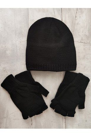 Siyah Unisex Bere Eldiven Set